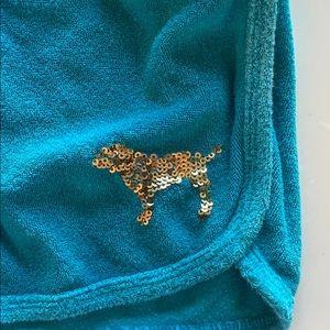 PINK Victoria's Secret Shorts - VS PINK blue terry cloth shorts w/ gold sequins ✨